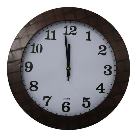 35cm Large Round Wall Clock With Quartz Movement Mahogany & Criss Cross
