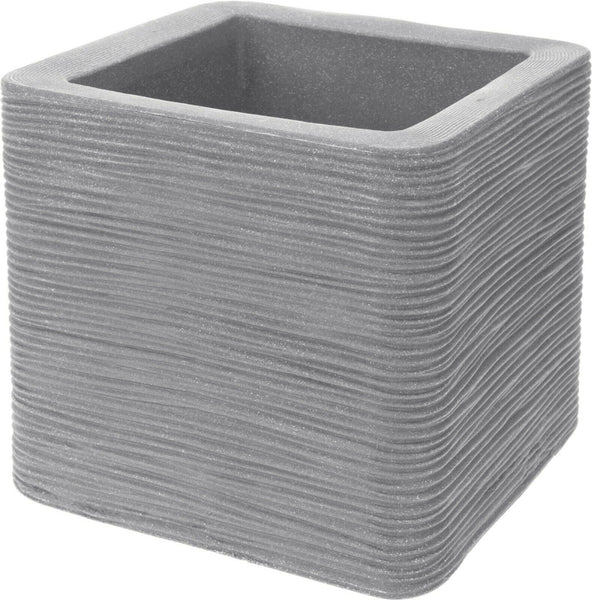 Cube Planter Ribbed Light Grey Planter Plant Pot Square 29cm Wide Double Walled
