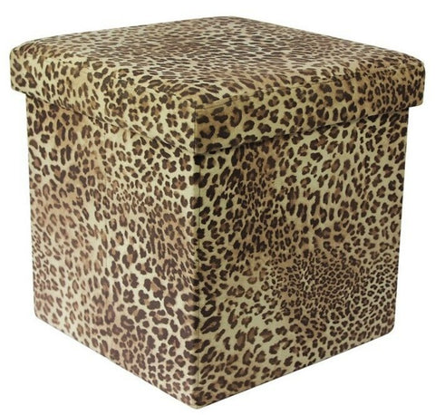 Ottoman Leopard Print Pouffe Storage Box Can be Sat On up to 150kg
