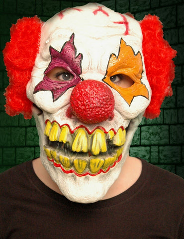 Scary Halloween Evil Menacing Adult Clown Latex Mask with Horrible Teeth