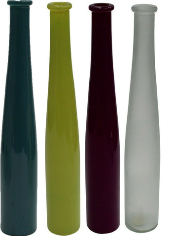 40cm Tall Bottle Flower Vase In Frosted Green White Purple & Teal Narrow Mouth