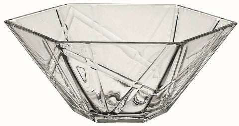 27.5cm Coppa Ice Hexagon Glass Fruit Bowl / Salad Bowl Large