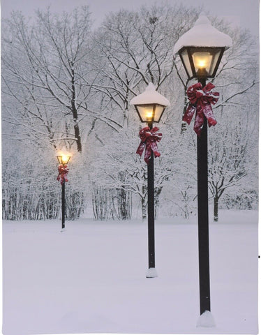 LED Light up Canvas Pictures 40cm x 30cm Wall Hanging Art Red Bow Lantern Snow