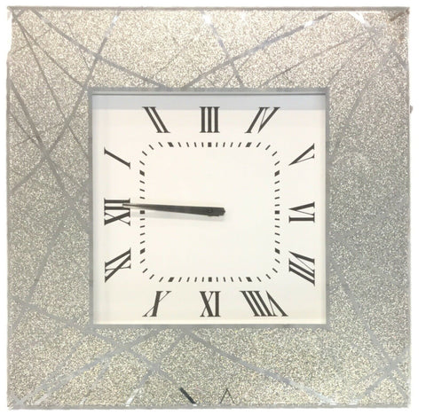 Large Mirrored Glass Silver Wall Clock 50cm x 50cm Thick & Heavy Weight