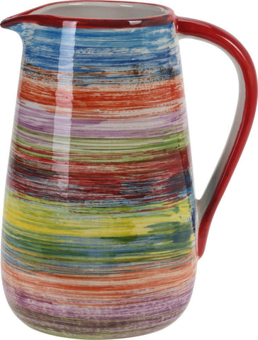 Bright Coloured 2 Litre Stoneware Jug Striped Siaki Design