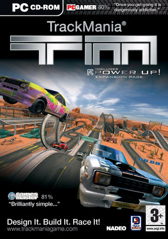 TrackMania Power Up Expansion Pack PC Cd Rom Computer Game Design Build Race It