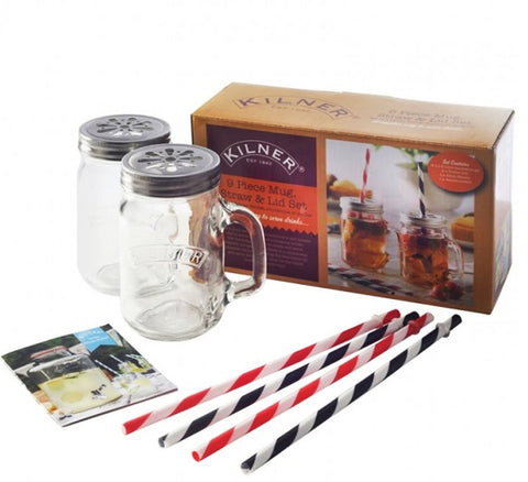 9 Piece Kilner Glass Preserving Drink Beverage Mugs Straws Recipe Book & Lid Set