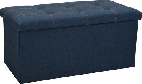 Ottoman Large Pouffe Storage Box & Seat up to 150kg Denim Blue Jeans Design