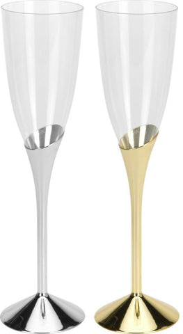 Set of 8 Plastic Disposable Gold Silver Champagne Flutes Champagne Glasses