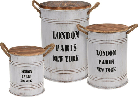 Barrel Storage Bin set of 3  Zinc White With Antique Finish 50cm 28cm