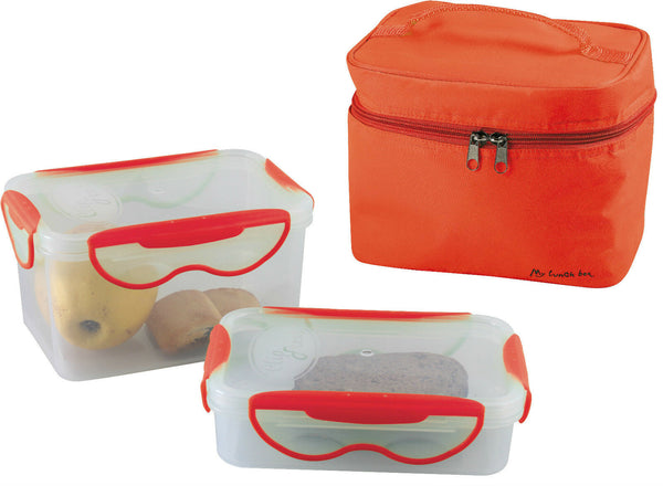 Orange Insulated Lunch Bag with 2 Airtight Food Storage Containers