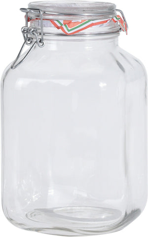 Large 3 Litre Square Glass Preserve Jars Airtight Clip Top Storage Jars
