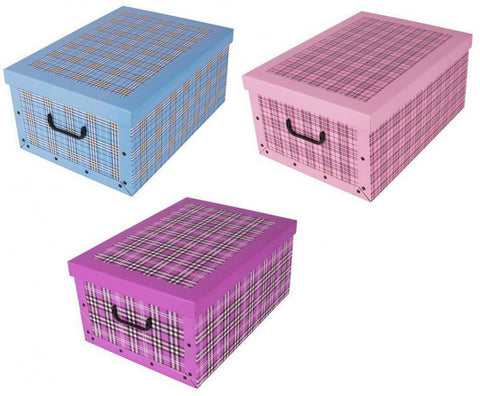 Cardboard Large Storage Boxes With Lid Storage Box Toy Box Handle Gingham Design