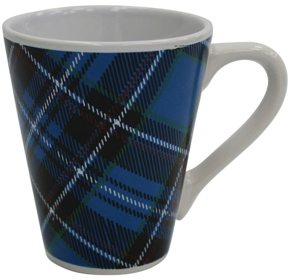 Set of 6 Porcelain Blue Tartan Design Coffee Mugs 280ml Capacity Conical Shaped