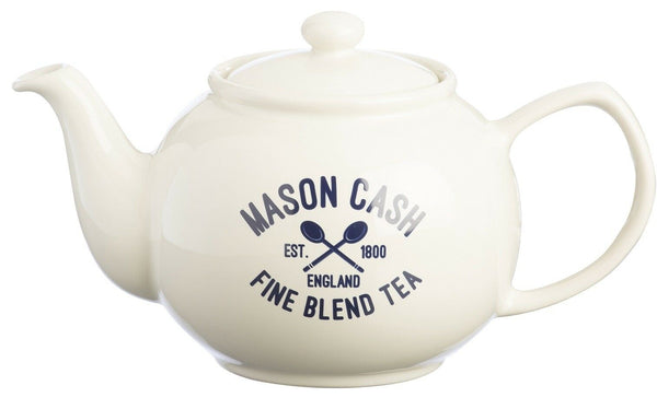 Mason Cash Glazed Stoneware 6 Cup Teapot CREAM Bulbous Shape Tea Pot