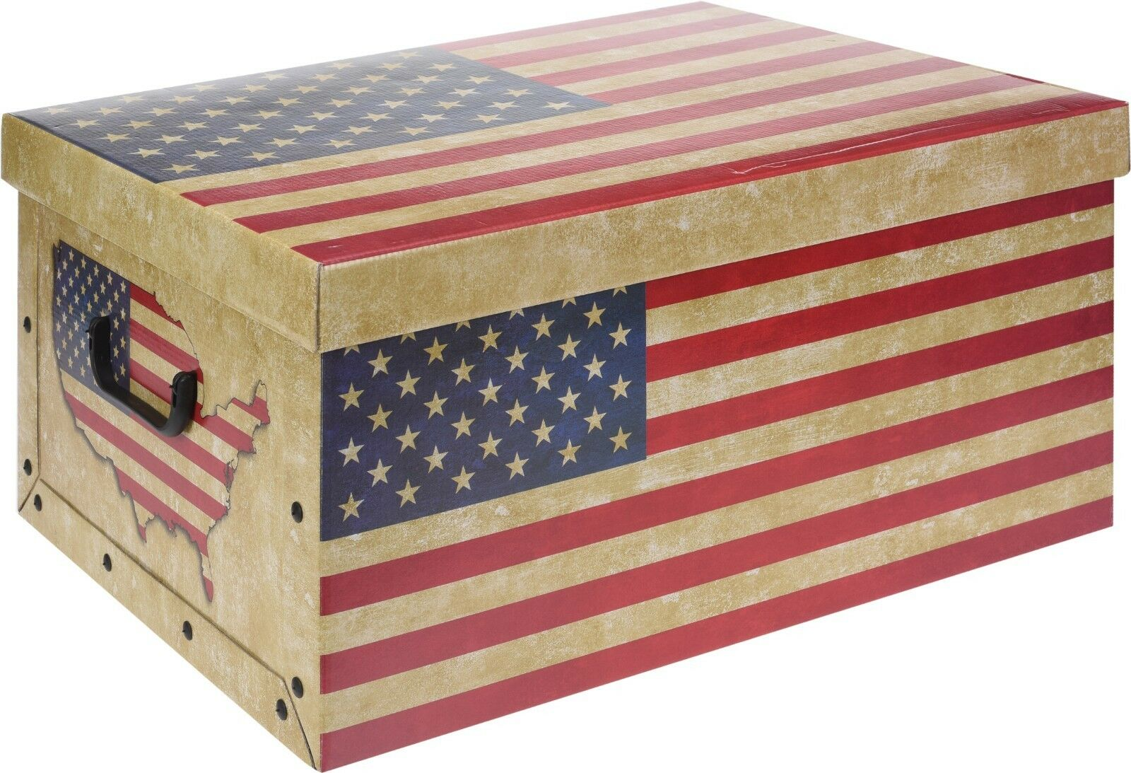 Cardboard Large Storage Boxes With Lid Storage Box Toy Box Handle Union Jack USA