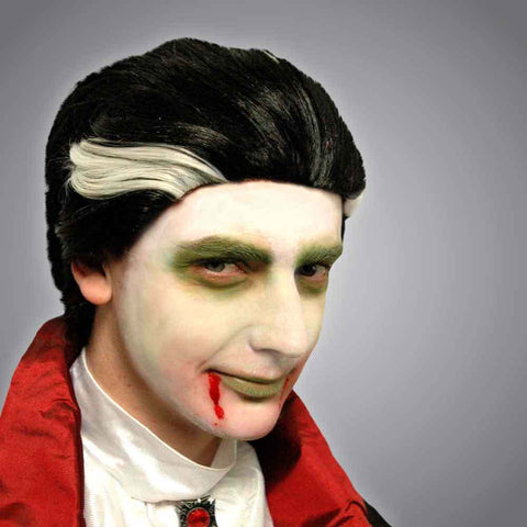 Halloween Party Wig Adult Vampire Wig Black & White Streaks