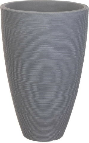 Ribbed Light Grey Planter Plant Pot 43cm Tall