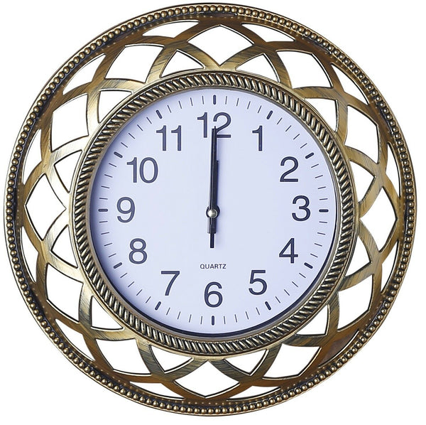 Set of 3 Brushed Gold Wall Clock & 2 Matching Mirrors Wall Hanging Clock Mirror