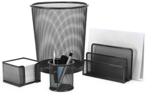 Set of 4 Piece Matching Office Mesh Metal Bin Note Pad Pen Holder Desk Tidy