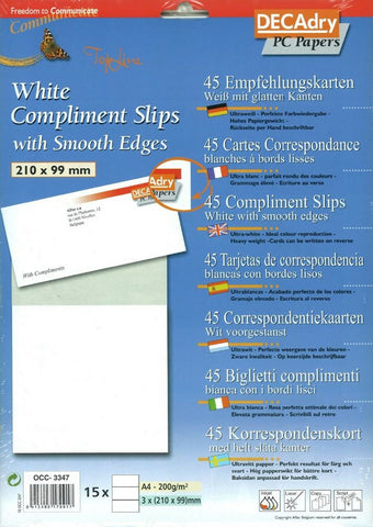 Decadry OCC-3347 White Compliment Slips With Smooth Edges