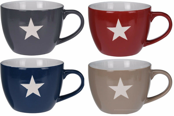 Set of 4 Ceramic LARGE MUGS Soup Bowls Red Blue Grey Stone With White Stars