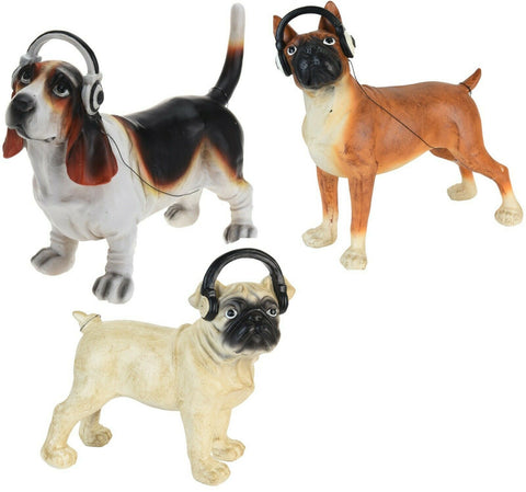 Large 31cm Cute Pug Beagle Boxer Dog Listening to Headphones Decor 31cm