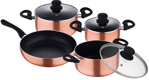 Renberg 7 Piece Copper Pan Set & Gift Boxed. Induction