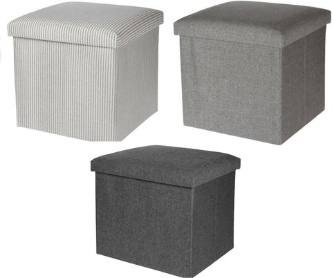 Ottoman Pouffe Cube Storage Box & Seat up to 150kg White Stripe Grey & Black