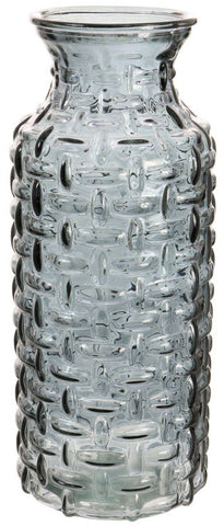Large Glass Wide Mouth Bottle Flower Vase Woven Style Charcoal / Carafe Jug
