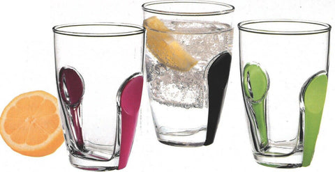 Pasabache Set of 6 Glass Tumblers Snap Range With Colourful snap on
