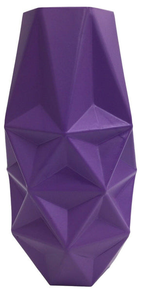 25cm Tall Wide Mouth Prism Purple Glass Flower Vase
