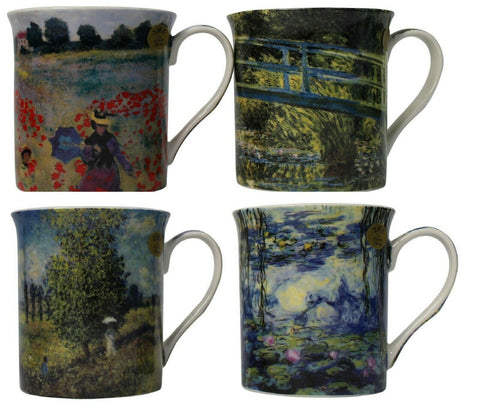 Leonardo Collection Set of 4 China Coffee Mugs Set Claude Monet Designs