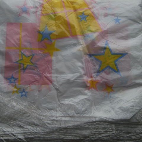 1600 X White Plastic Carrier Bags Pink Yellow Blue Star Design 100 Per Pack