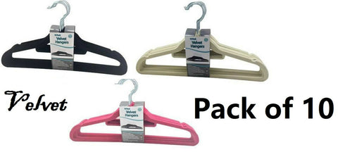 Pack of 10 Velvet Coat Clothes Hangers & Tie Belt Scarve Bar in Black Pink Beige