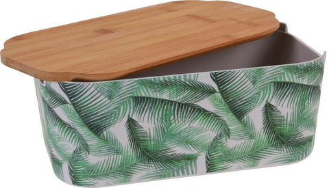 Floral Green Bamboo Bread Bin Bread Crock With Lid as a Chopping board