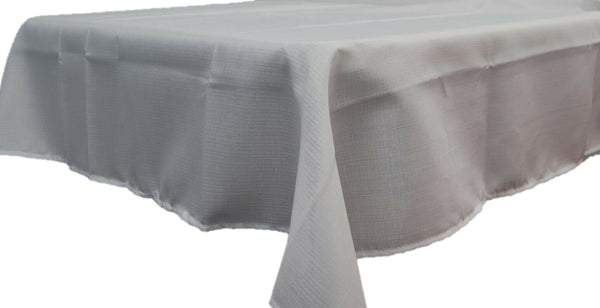 7ft Rectangle White Linen Look Tablecloth 100% Polyester
