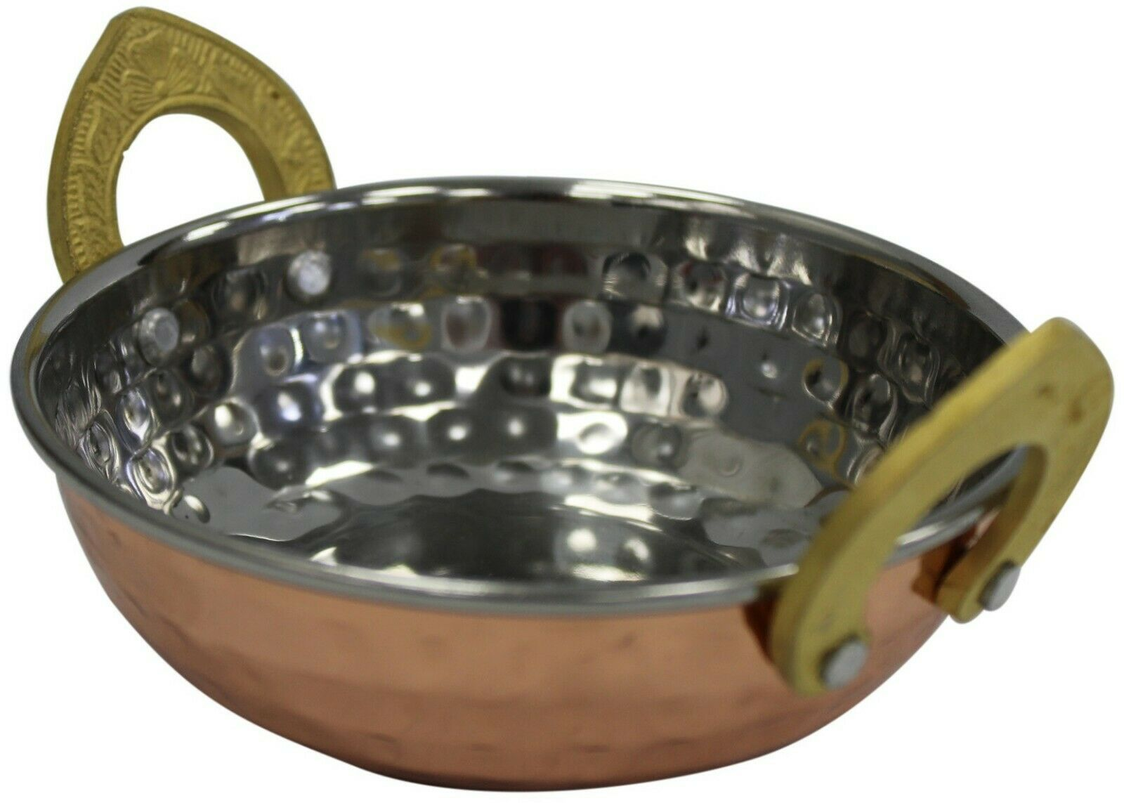 Shiny Copper Kadai Dish Rice Bowl Balti Dish Bowl With Brass Handles Hammered