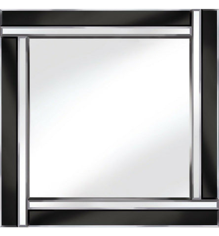 Two Bar Beveled Design Mirror Black / Silver Square Wall Mirror 60cm x 60cm