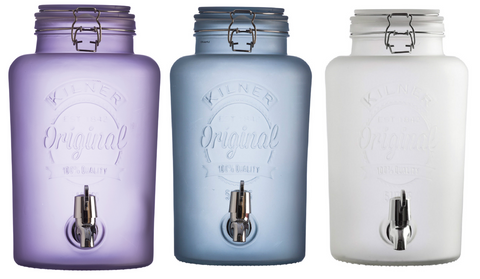 Large Kilner 5 Litre Drink Dispenser  in Frosted White Blue Or  Purple