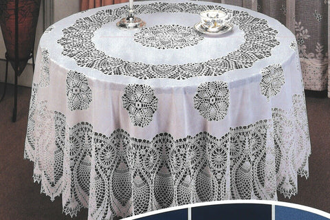 160cm Round White Vinyl Lace Tablecloth Easy Clean Indoor / Outdoor Use