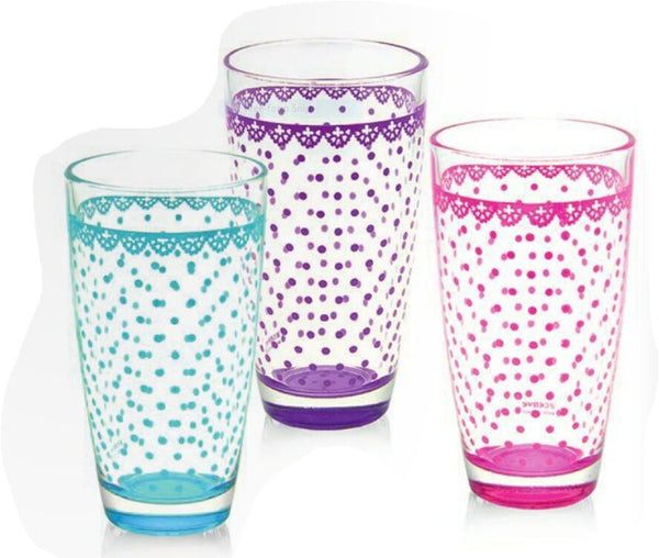 Cerve Set of 3 Glass tumblers Hi Ball Tumblers Set Made in Italy Dishwasher Safe