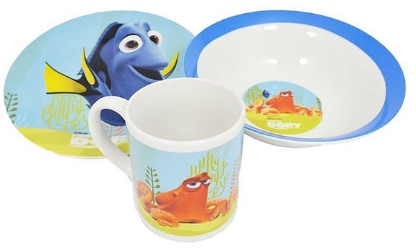 Disney Finding Dory Children 3 Piece Ceramic Breakfast Set Cup Bowl & Plate