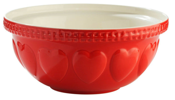 Mason Cash S12 Large 29cm Mixing Bowl RED with Hearts Deep Mixing Bowl