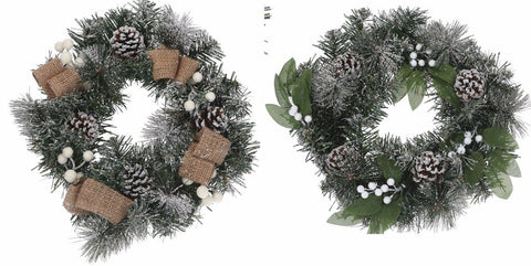 30cm Round Green Wreath With White Berries Hanging Christmas Decoration