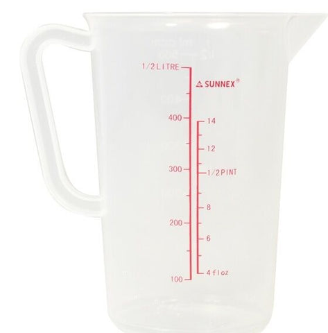1/2 Litre Small 500ml Measuring Jug Plastic Less Likely to Break With Measurement