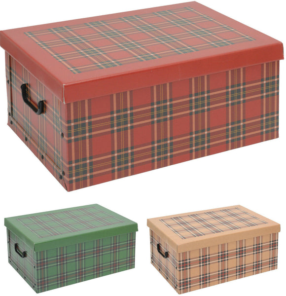 Cardboard Large Storage Boxes With lids Tartan Design Storage Box Toy Box Handle