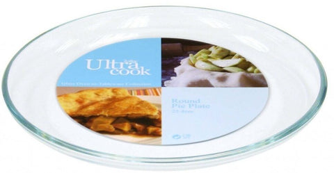 "Ultracook 25cm 10"" Round Glass Pie Plate Flan Tart Oven -Tableware Collection"