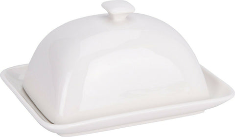 Durable Porcelain White Butter Dish With Lid Bell Top Lid