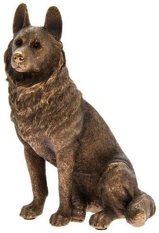 Leonardo Collection German Shepherd Dog Figurine Dog Sitting Bronze Coloured